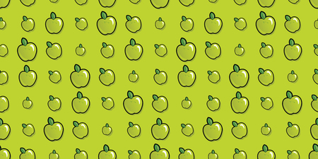 Repeating seamless pattern of bright green cartoon apples.
