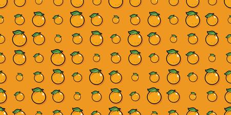 Repeating seamless pattern of bright orange cartoon oranges