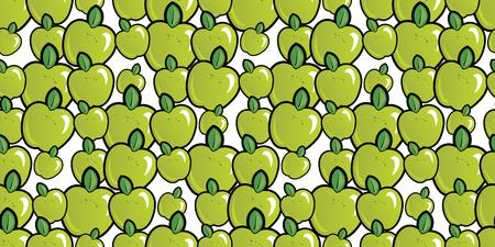 Repeating seamless pattern of bright green cartoon apples Illusztráció