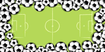 frame made up of football soccer balls against a football soccer pitch Illusztráció