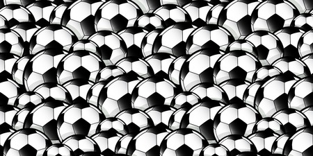 seamless pattern repeat of overlapping football soccer balls for use as background Illusztráció
