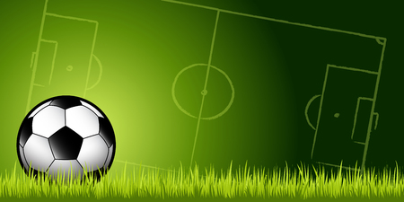 football soccer ball in green grass against a soccer pitch background