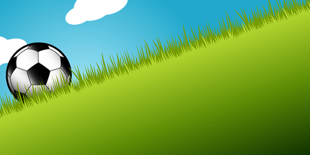 football soccer ball in green grass against a bright blue sky Illusztráció