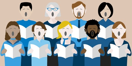 Diverse group of adults singing in a multicultural choir