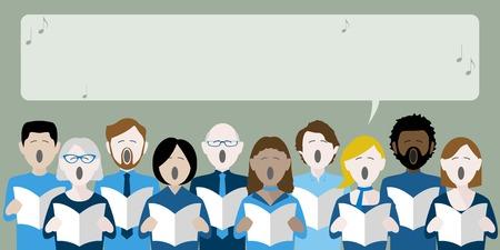 Gruppe von Chorsängern mit Sprechblase für Text