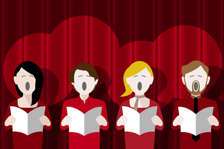 Choir singers singing in front of a red curtain Stock Vector - 111445413