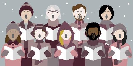 Vielfältige Gruppe von Erwachsenen, die in einem multikulturellen Chor Weihnachtslieder singen