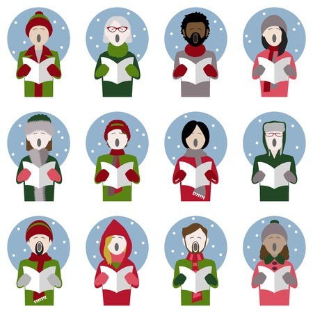 Set of twelve icons of multiethnic adult christmas carol singers