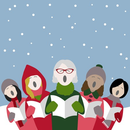 Group of female singers singing Christmas carols in the snow