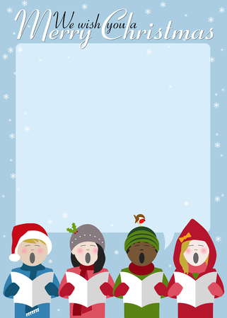 Children singing Christmas carols with room for text Stockfoto - 111445423