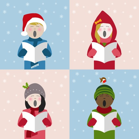 Boys and girls in winter clothes singing Christmas carols from a song sheet