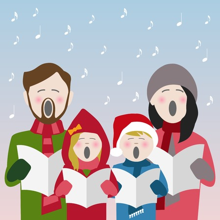 Familie in Winterkleidung singt Weihnachtslieder aus einem Liederblatt Vektorgrafik