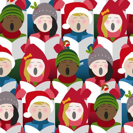 Kinder in Winterkleidung singen Weihnachtslieder aus einem Liederblatt. Nahtloser Wiederholungshintergrund Vektorgrafik