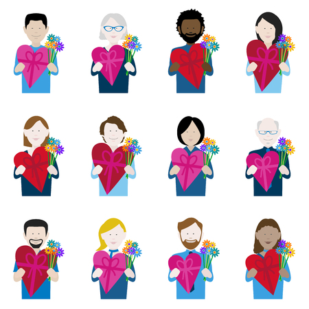 set of twelve icons of multiethnic adults holding valentine chocolate and flowers Illustration