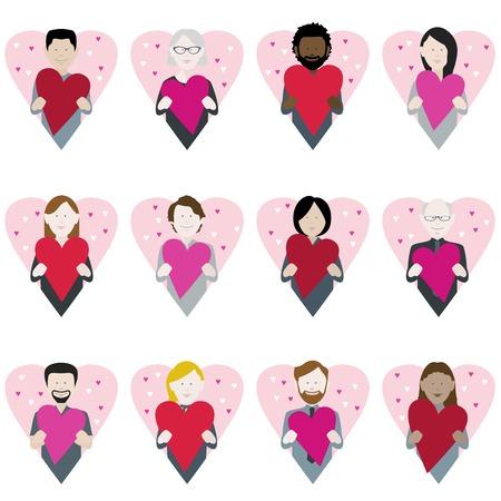 set of twelve icons of multiethnic adults holding valentine love hearts Illustration