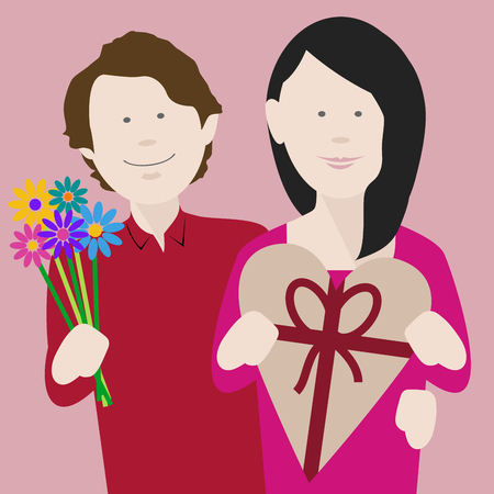 happy young couple in love exchanging gifts on saint valentines day