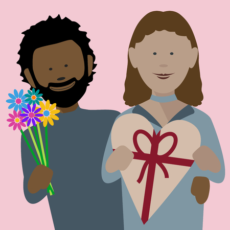 happy young african couple in love exchanging gifts on saint valentines day  イラスト・ベクター素材