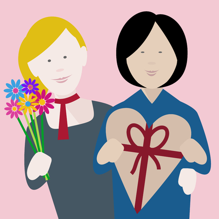 happy young multiethnic lesbian couple in love exchanging gifts on saint valentines day Illusztráció