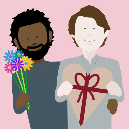 happy young multiethnic gay couple in love exchanging gifts on saint valentines day Illustration