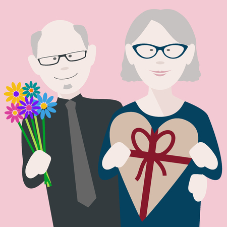 happy senior couple in love exchanging gifts on saint valentines day Illusztráció