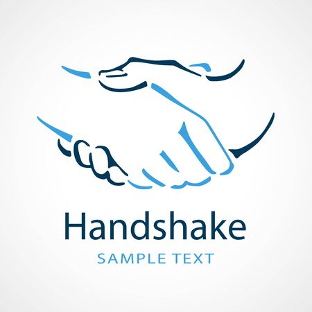 Line drawing of two people shaking hands for use as a company logo Illusztráció