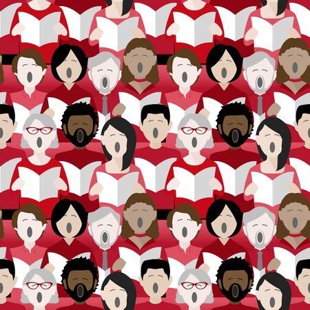 diverse group of adults singing christmas carols in a multicultural choir. Seamless repeat background pattern Ilustração