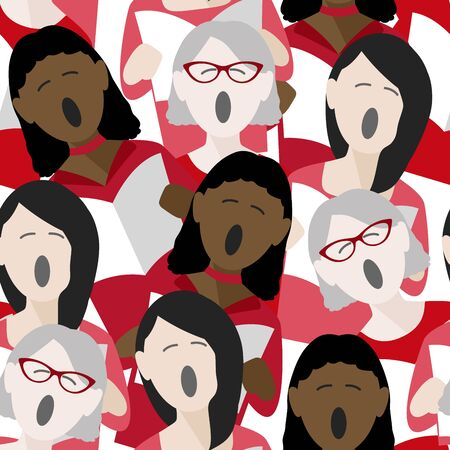 diverse group of adult females singing christmas carols. Seamless repeat background pattern