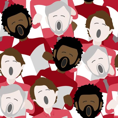 diverse group of adult males singing christmas carols. Seamless repeat background pattern Illustration