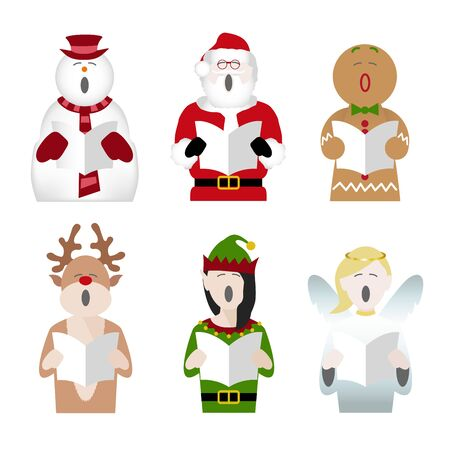 snowman, father Christmas, gingerbread man, reindeer, elf and fairy characters singing Christmas carols