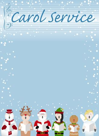 Christmas carol service poster design with a snowman, father Christmas, gingerbread man, reindeer, elf and fairy characters singing in the snow. Vector poster design