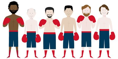 line up of multicultural male boxers. vector file available.