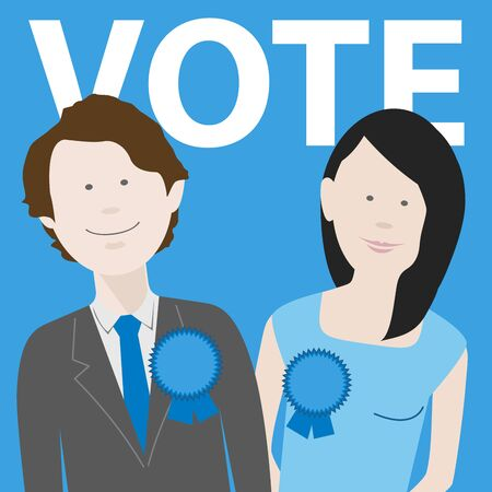 two political candidates for the uk conservative party. EPS file available Çizim