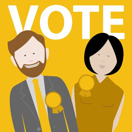 two political candidates for the uk liberal democrat party. EPS file available Illusztráció
