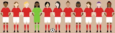 line up of eleven multinational female football soccer players in red kit. EPS file available.