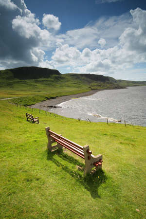 Wooden bench with a view - Isle of Skye, Scotland