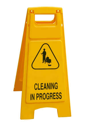 Cleaning in progress sign Stock Photo