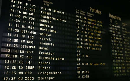 Airport information panel Editorial