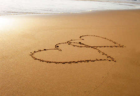 Corazones en la playa Foto de archivo - 3381605