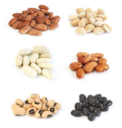 frijoles: Surtido de diferentes tipos de frijoles: frijoles rojos, laboratorio de laboratorio (jacinto), los frijoles, de color blanco (cannelini) jud�as, frijoles pinto, negro Eyed Peas y frijol negro