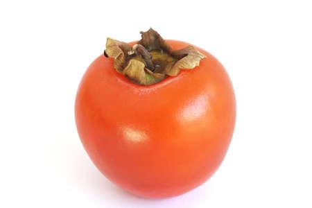 persimmon: Caqui fruto aislado m�s de fondo blanco