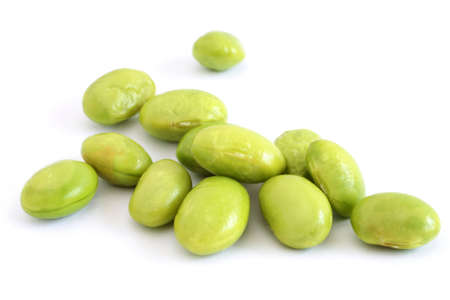 Fresh soybeans over white background