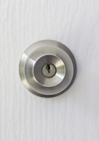 knob: Stainless knob on white door