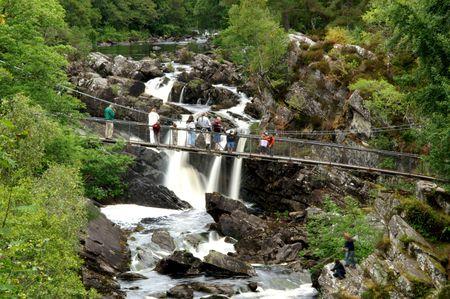 ness river: highland waterfall bridge