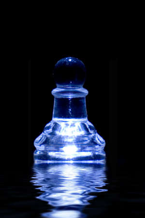 crystal chess piece with reflection photo