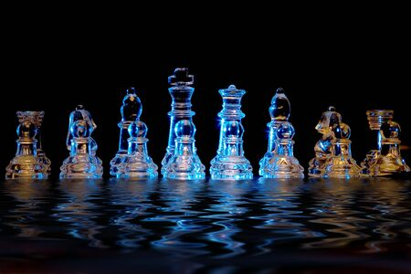 crystal chess set with reflection photo