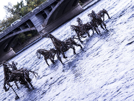 Horse sculptures in the river