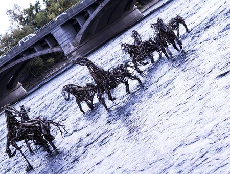 Horse sculptures in the river Stock fotó - 33330684