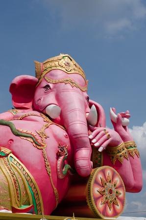 chachoengsao: Pink ganesha statue in relaxing at Wat Samarn, Chachoengsao, Thailand