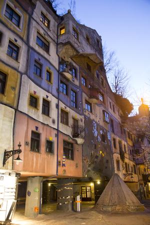 Hundertwasser House at night photo