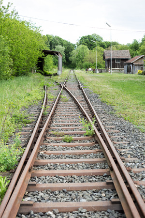 upperdeck view: Old railroad track with crossing railroads.